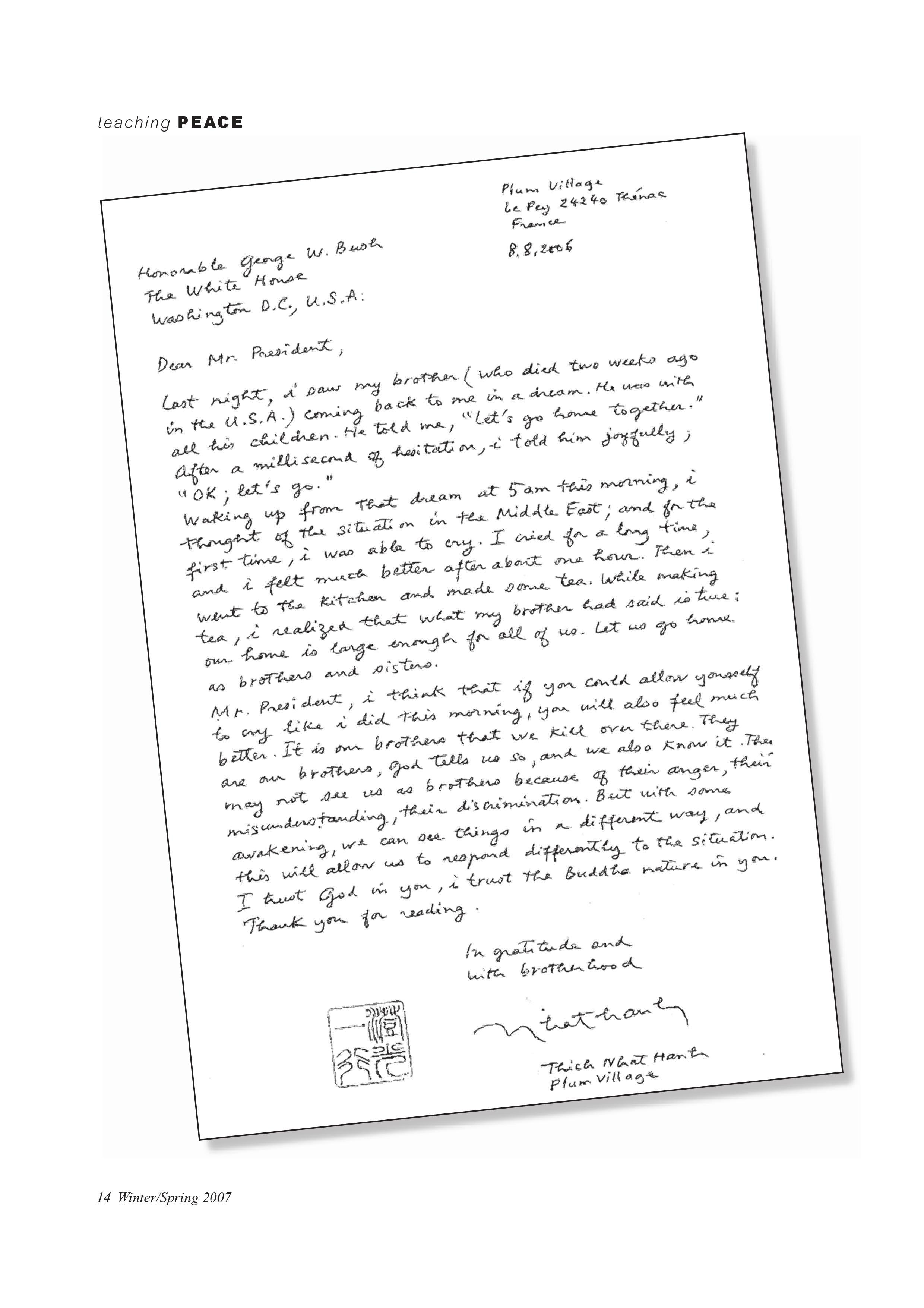 Letter to president gwbush plum village thecheapjerseys Choice Image