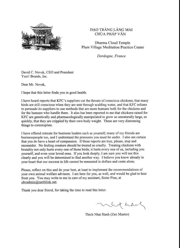 KFC-Thay letter