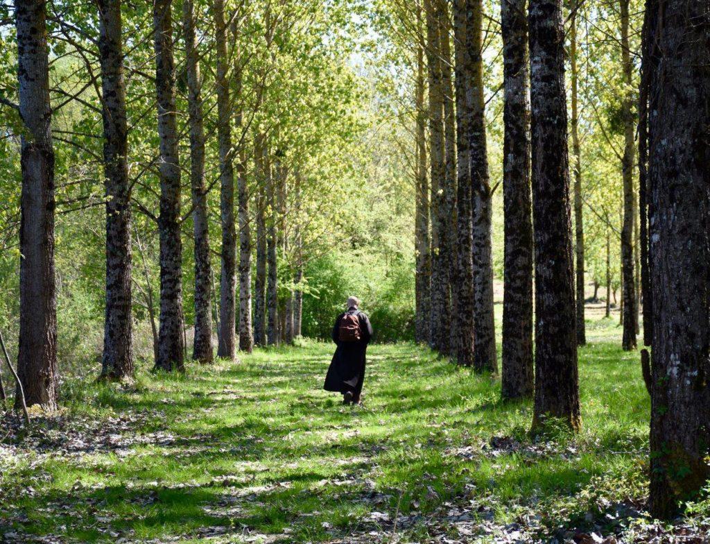 une moniale marche avec un sac à dos sur les épaules dans la forêt des peupliers du Hameau du Bas