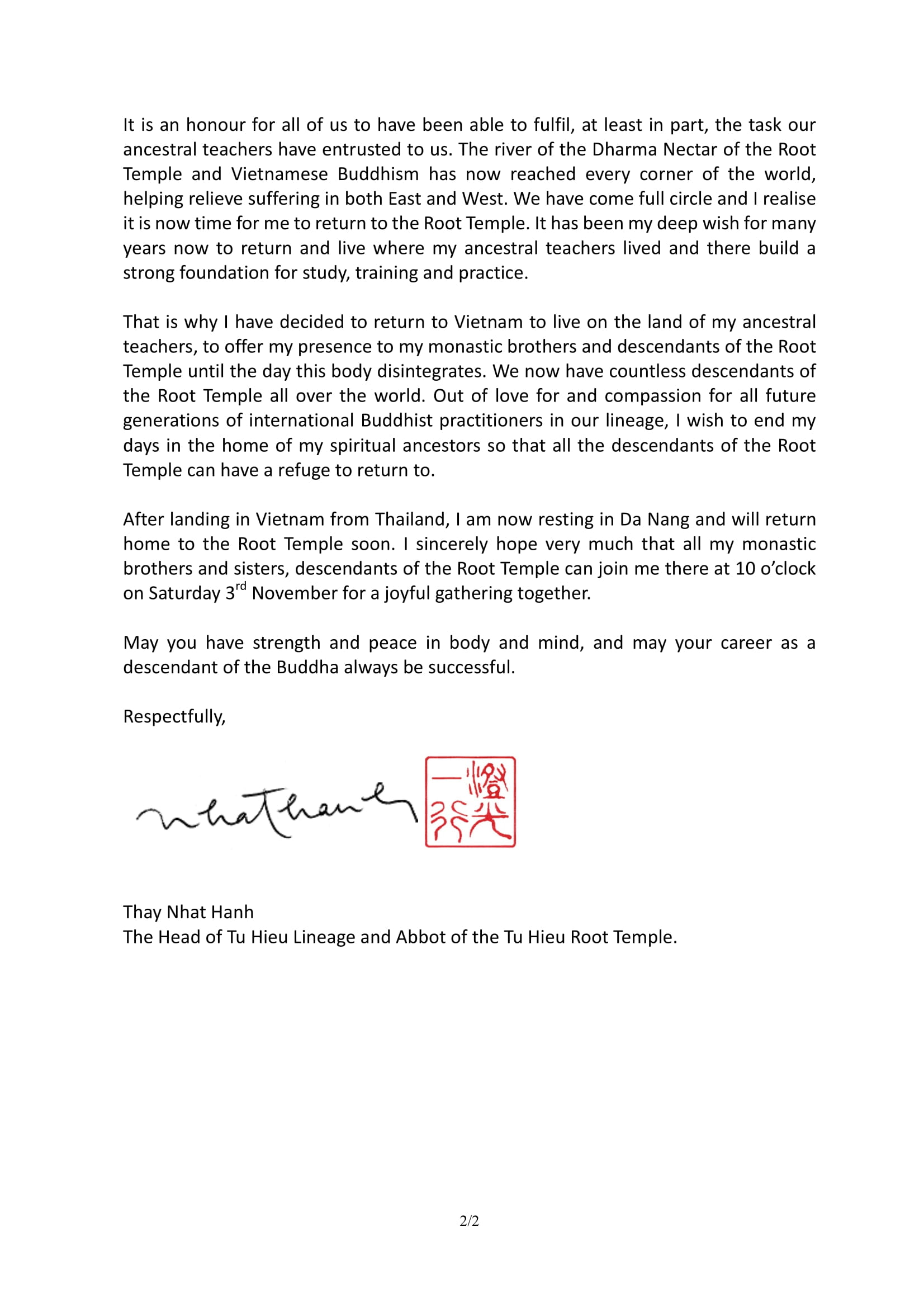 English Translation of Thay's letter to Root Temple Descendants